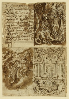 Recto: Four sections upper left. Thirteen lines of handwritten inscription; upper right: A woman with wings stands on a crescent moon, her child rising above her head. At left: The many-headed dragon. Lower left: Coronation of the Virgin. Lower right: frontise. Verso: Two sections: An open cupboard with objects in it; Figure in armor on rearing horse.