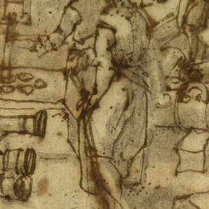 """Six men are making canons: one is a fireman working in a room in the back; two finish canons with chisel and hammer (one an almost completed canon, the other - a muzzle); two more men on the obverse; the sixth man stands beside a polished cannon holding an oblong object. Metal is streaming from a square hole in the wall in the left central plane; a ladder and a wheel are at right. The caption, near lower center, reads """"Fondiera""""."""