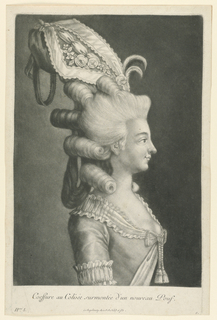 Half-length figure of a woman in side view. Her hair is dressed high in front with side puffs, the back in loose curls. She wears a high headgear of lace and embroidery.