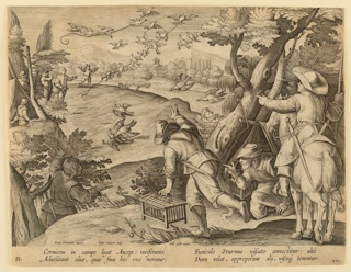 "Horizontal rectangle. Fowlers behind tree, right. Methods of snaring birds indicated: center, two birds are tied to the ground, thereby attracting other birds (starlings) to the scene. Above, groups of birds carry off glued snare-lines. At lower left: ""Ioan. Stradanus Ioan. Collaert Sculp."" Left center: ""Phls. Galle excud."" Below: ""CORNICEM IN CAMPO LIGAT AULEPS..."""