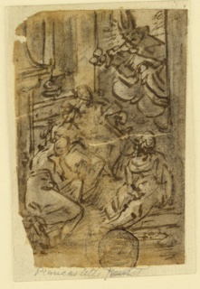 Vertical rectangle. Interior, with three figures seated in the foreground. Through an opening, at upper right, a saintly figure appears on a cloud, his head in a halo of light.