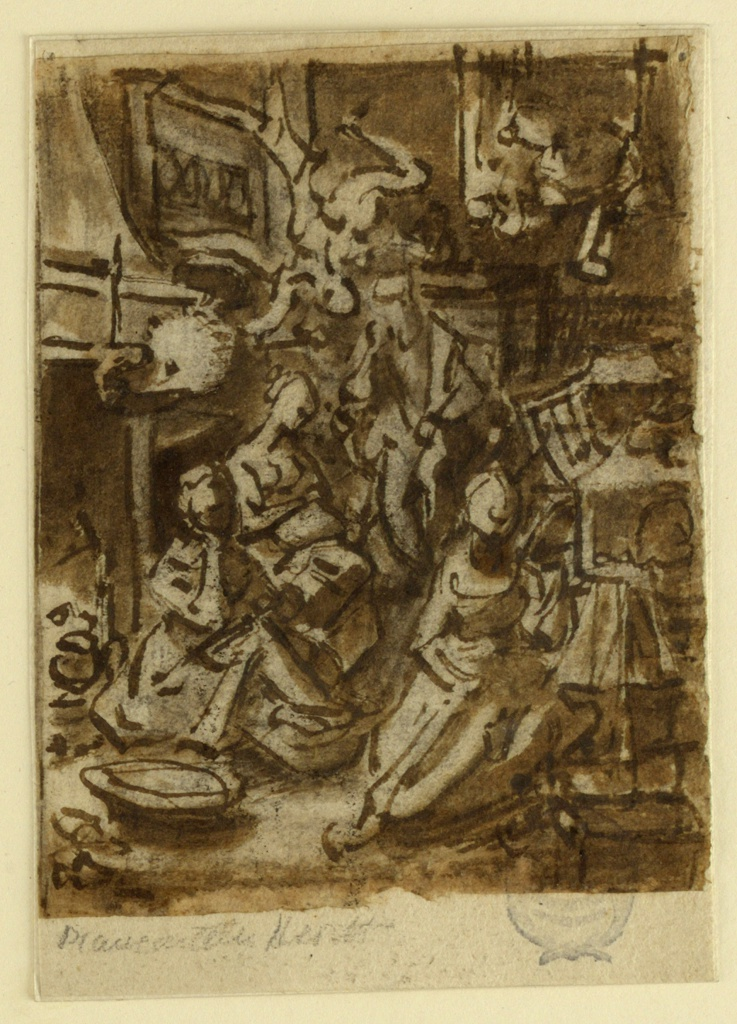 Vertical rectangle. Interior, with three women sitting in the foreground, before a fireplace. A man in seated in the beackground.