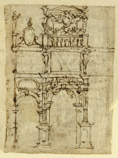 Recto: Elevationof wall or gateway, shown in two bays. Arched openings on lower story with a broad frieze above surmounted at center by a balcony or musician's gallery. Verso: Eleven lines of handwriting and a drawings of Judith holding the head of Holfernes.