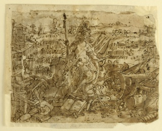 Horizontal rectangle. Minerva in Roman armor with helmet and shield with Medusa head, surrounded by canon, armor and other implements of war, right. Implements of peacetime industry and study, left. Battlefield in background, right; marketplace, left. Recto: Hunting scene, four lines of inscription above.