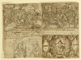 Horizontal rectangle. Verso, upper left: Christ in Wilderness. Angel, right, ministering to Him. Upper right: Feast, inscription above: Agneso; inscription, one line, below; lower left: Annunciation; half-length figures: angel, left; Madonna, right. Five lines of inscription above; lower right: title page with Christ in blaze of Glory, center. Recto, upper left: Parable of marriage of King's son (Mat. XXII, 13). Servants bind man, right. King and guests watch. Inscription below. High Priest conducts ceremony under a portico; lower right, vertically, three monks.