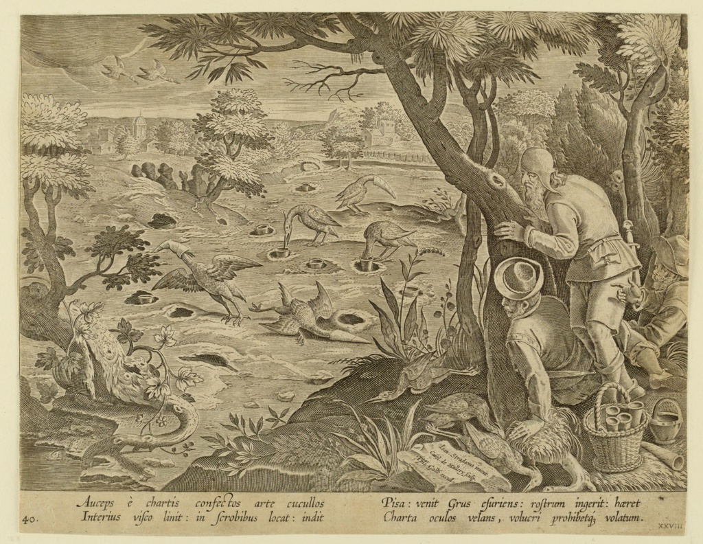 """Horizontal rectangle. Trapping the long-necked bird by means of placing cornucopias in holes in the ground; the cornucopias are probably filled with bait. Several of the birds, rendered helpless by the hoods, are shown in center. Trappers behind tree, right. On rock, near lower right: """"Ioan. Stradanus invent. / Carol de Mallery Sculp. / Phls. Galle excud."""" Below: """"AUCEPS E CHARTIS COMFECTOS ARTE CUCULLOS..."""""""