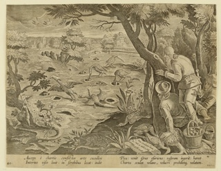 "Horizontal rectangle. Trapping the long-necked bird by means of placing cornucopias in holes in the ground; the cornucopias are probably filled with bait. Several of the birds, rendered helpless by the hoods, are shown in center. Trappers behind tree, right. On rock, near lower right: ""Ioan. Stradanus invent. / Carol de Mallery Sculp. / Phls. Galle excud."" Below: ""AUCEPS E CHARTIS COMFECTOS ARTE CUCULLOS..."""