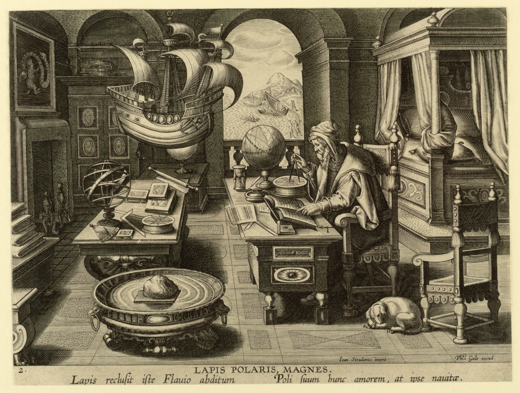 "Elderly man seated at table working out ship's courses with a compass, surrounded by gloves and nautical instruments. Inscribed ""LAPIS POLARIS, MAGES. Lapis reclusit...at ipse nautae."""