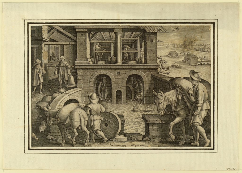 """Horizontal rectangle. Beside a river, the two water wheels are seen at center. Men, bringing grain, weighing it, and pouring it into the grindstones. Bottom center: """"Joan Stradanus invent."""" """"Phls. Galle excud."""""""