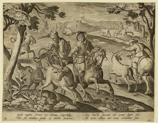 "Horizontal rectangle. Hunters on horseback lasso deer in foreground; on stone, near left center: ""Ioan. Stradanus invent.""; at lower right: ""Car. de Mallery Sculp. Phls Galle excud."""