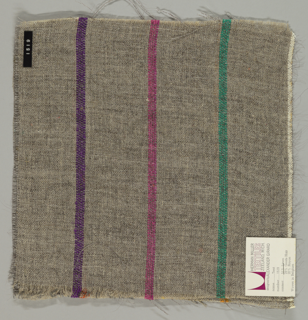 Plain weave of variegated grey and narrow green, magenta, violet, orange, dark red and gold vertical stripes. The grey striped areas are comprised off-white warps while the wefts are comprised of white threads loosely twisted with black goat hair. The green, magenta, violet, orange, dark red and gold stripes are made of heavier warp threads with a slight sheen.