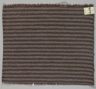 Heavy plain weave in narrow horizontal stripes of black and brown-grey. Warp is comprised of lightweight threads in dark brown while the weft has heavier threads in black and brown-grey.