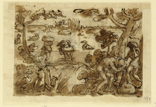 Horizontal rectangle. Obverse: Hunters using headpieces in the shape of ducks to serve as decoys in trapping the birds. Hunters submerged in the water wearing the headgear. Left, two hunters putting on the headpieces (gourd). Reverse: top - in the background, a pig used as a decoy in trapping alligators. Two alligators in the foreground. Bottom, two tigers about to enter the trap.