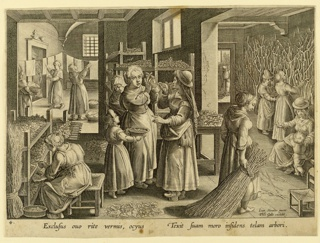 "Horizontal rectangle. At left, a woman is seated before trays of silkworms; center, a group of women, in another room, in background, left, laundering.  Figures in adjoining area, right. At lower right, in plate: ""Ion. Stradan. invent. / Phls. Galle excudit."" In margin, below: ""EXCLUSUS OUO RITE VERMIS, OCYUS..."""
