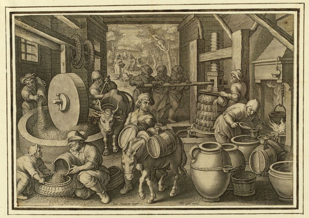 """Horizontal rectangle. Olives are harvested (outside), put through several stages of pressing; the oil is being extracted, refined by boiling, measured and carried away. Bottom center: """"Joan Stradanus invent."""" """"Phts. Galle excud."""""""