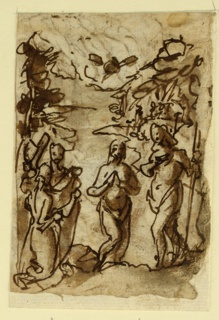 Vertical rectangle. Verso: Christ stands in the foreground, center; St. John stands to the right; two other figures, left; the Dove flies above the figure of Christ. Recto: Christ is at the center of the composition, supported by two angels. The Madonna stands behind the figure of Christ.