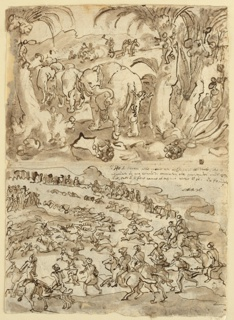 At top, elephants being attacked by pygmy-like men equipped with hatchets.  In the background, sections of the elephant meat are carried off as the fallen animal is cut up. At bottom, hunt of men on horseback and dogs. Verso: Elephants attacked by serpents, in foreground.  In the background Troplodytae cut up and carry off fallen elephants.