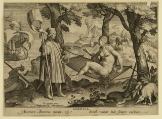 """Print, The Discovery of America, plate 1 from the """"Nova Reperta"""" (New Inventions of Modern Times)"""
