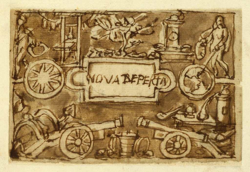 A tablet with the inscription: NOVA REPERTA (The first R is corrected, D). It is flanked at left by a compass, at right by a globe. A figure at upper right holding an ouroboros gestures with a stick at the New World. Canons and distilling equipment at bottom. A mulberry tree (reference to silk-making) grows over the upper rim of the tablet. Above right: a clock; above left: a printing press. At far left, another figure holding an ouroboros.