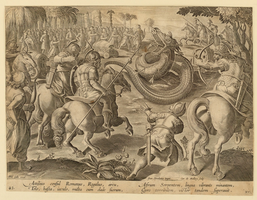 """Horizontal rectangle. The serpent is in the center of the composition, middle ground, surrounded by foot-soldiers and horsemen firing cannon and arrows at him. At lower left: """"Phls Galle excud.""""; near lower right: """"Joan Stradanus inuent. / Car. de Mallery Sculp."""" Below: """"ATTILIUS CONSUL ROMANUS."""""""