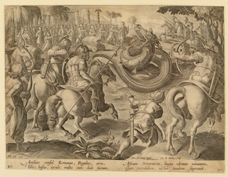 "Horizontal rectangle. The serpent is in the center of the composition, middle ground, surrounded by foot-soldiers and horsemen firing cannon and arrows at him. At lower left: ""Phls Galle excud.""; near lower right: ""Joan Stradanus inuent. / Car. de Mallery Sculp."" Below: ""ATTILIUS CONSUL ROMANUS."""