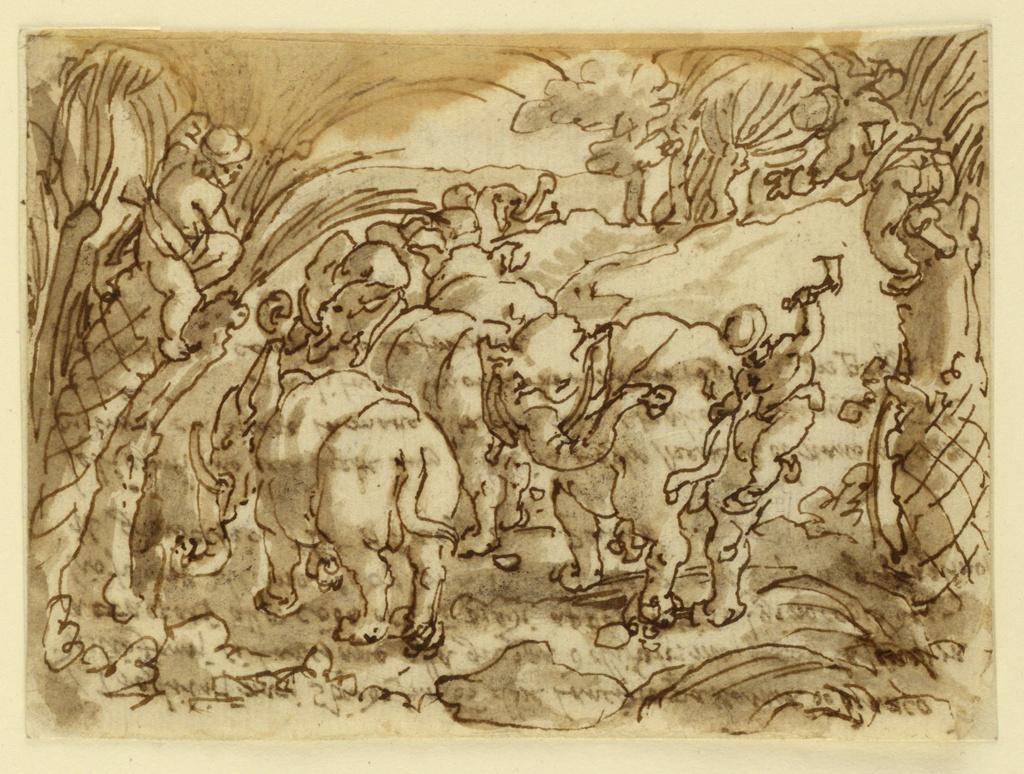 """Horizontal rectangle. A herd of elephants is shown trotting backwards in a hilly country. Palm trees stand laterally in the foreground. Two dwarves are ready to spring from them, as did a third who, holding the tail and standing upon a knee, raises an axe with his left hand to cut horns of the knees of the animal he caught, the last one. Reverse: """"I Trogloditi nani stando sur uno albro lanciato passarono [for passante] uno branco / di liofonti si lanciano alla groppa delli faltimo (?) e con la sinestera / attacati alla coda e uno piedi appoggiati sil ginocchio de -/liofante ultimo et un [for:con] una scure della [nella] mano destra gli toglino / il ginocchio. Le 8 cap. 8 Plinio / Telinantiano (?) loro strette lun laltra in logho strette e el mano a essere / pitmine (?) e a pilare la mano salta alla coda e togliano leginoghie con la scure iniolifante morti in lontano tagliata in pitozze a / portata via carna fano le fornice."""" Rough lower, damaged right edges. Wrinkles. Damaged on top by humidity. Related to engraving by J. Callaert, after Stradanus (1952-37-5). Part of series VENATIONES FERARUM, ARIUM, PESCIUM"""