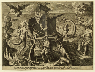 A navigator (Magellan) sits on the prow of the ship, facing left in profile. Sea monsters are visible in the waters at left and right. At right a figure is seated on a rock and forces an arrow down his throat.