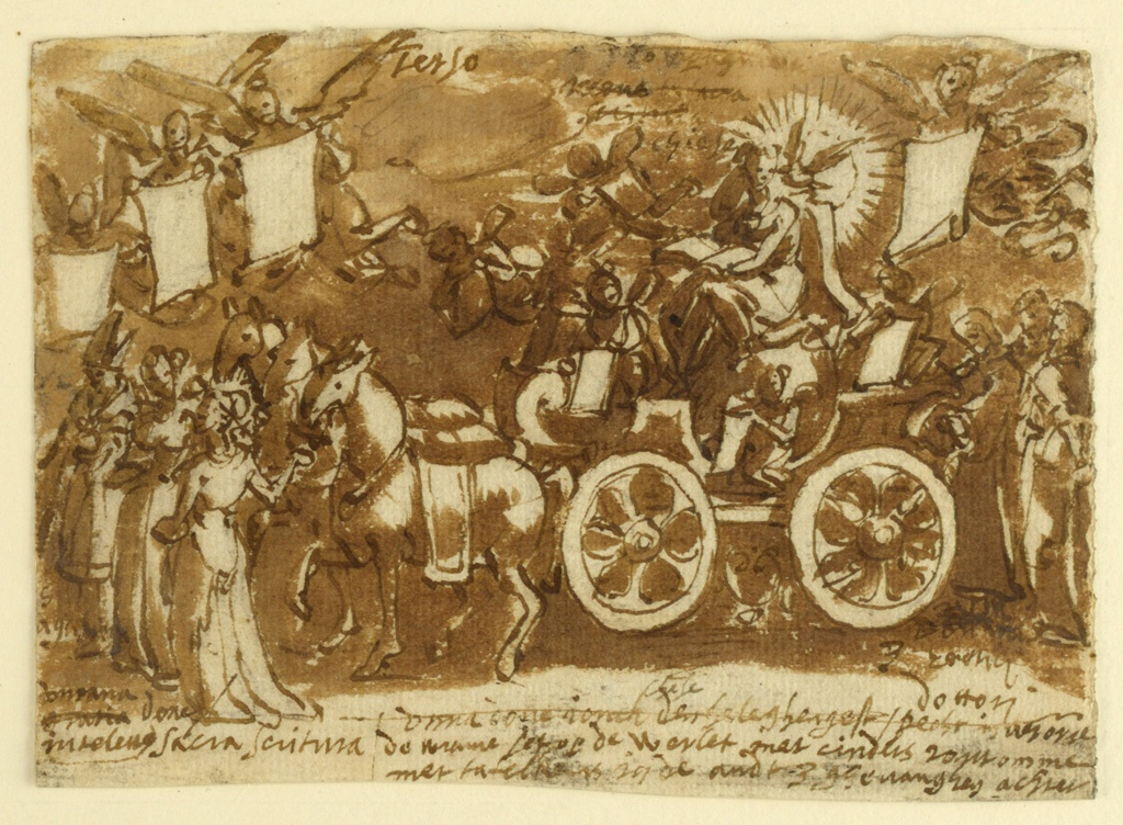 """Horizontal rectangle. A chariot drawn by three horses. In the chariot, a female figure holding an open book; a dove surrounded by rays sits on her shoulder. Preceding or leading the horses are two women and a bishop in his robes. Above: """"Terzo."""""""