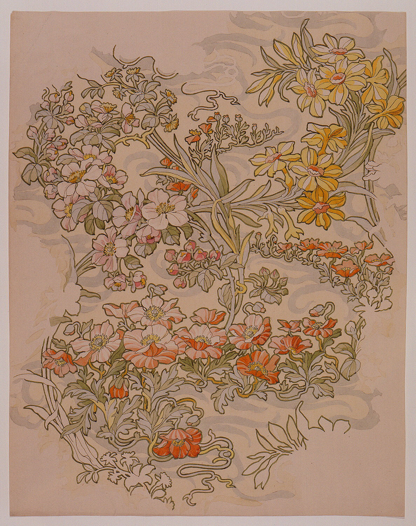 Drawing, Textile Design: Anemones, Apple Blossoms, and Narcissi