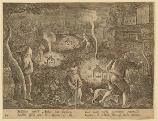 "Horizontal rectangle. The apiary is at right. In the foreground, the bee-masters are beating the bushes, driving out the moths hidden in them toward flaming lamps set up on the ground. At lower left: ""I. Stradanus inv. C Galle sculp""; at lower right: ""Phls Galle excud."" Below: ""MELLIFERIS INFESTI APIBUS SUNT PAPILIONES..."""