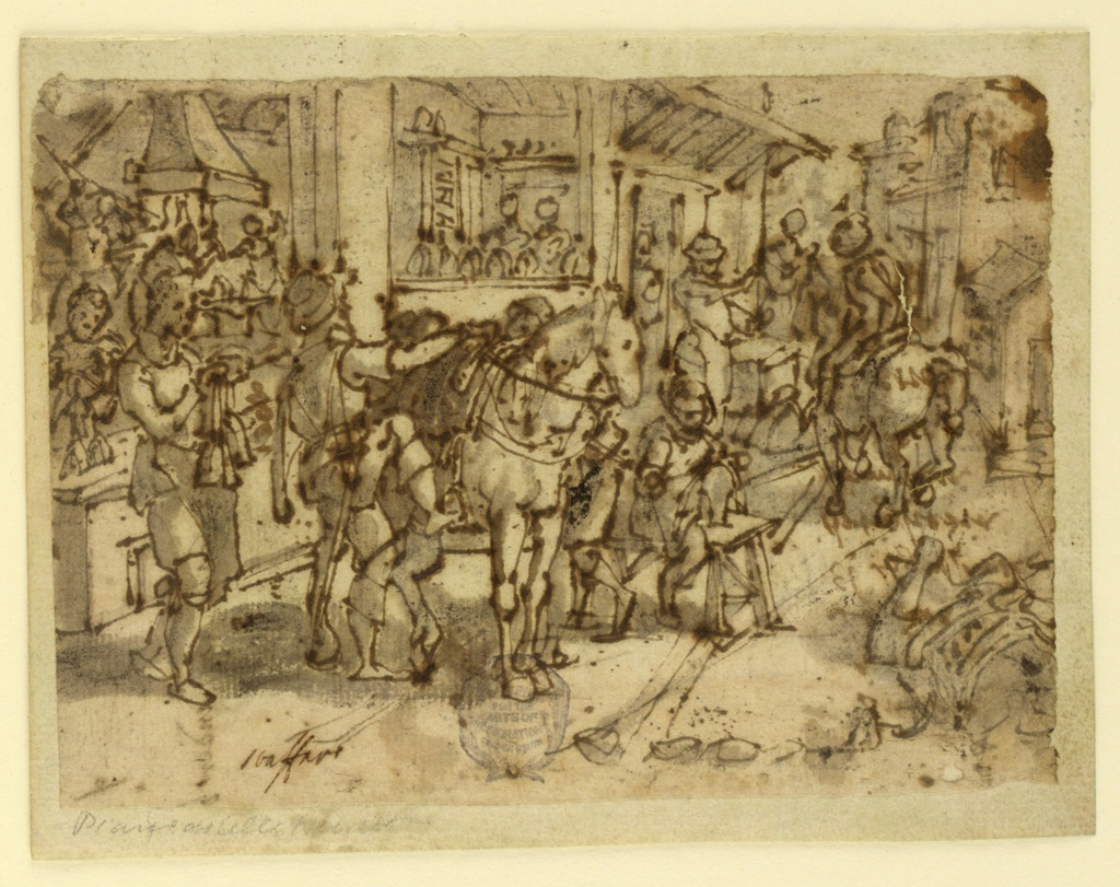"Scene outside a stirrup maker's shop.  In the foreground, a man is mounting his horse.  At left, a woman holds stirrups suspended by their straps.  The interior of the shop, showing the process of making stirrups, visible at left.  Another figure on horseback at right.    Bottom left: ""Straffano""  The stirrup maker."