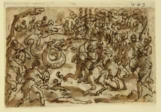 "Horizontal rectangle. Obverse: Warriors on horseback and on foot attack a serpent with bows and arrows, and other machines of war. Reverse: at right, a serpent has been trapped in a cave, the entrance covered by a net. a large number of soldiers, on horseback and on foot, surround it, blowing trumpets, beating drums, and readying their weapons for action. Observe: ""a serpent 120 feet in length was taken by the Roman army near Regulus, being beseiged, like a fortress, by means of balistae and other engines of war."" (Plinius, Nat. History, Book VIII, Ch. 14). Reverse: story of Ptolemus and the Serpent (Diodorus Sicilus)."