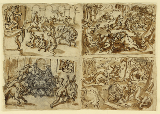 Pages of a sketchbook.  Recto: Four scenes, upper left, lower left.  Thessalians fighting bulls, upper right, lower right. Horizontal rectangle.  Verso: Four scenes.  Upper left: Men fighting bulls in an arena, as the King observes, left.  In background man on horseback rides to attack bull.  Lower left: Another version of men fighting bulls.  King in background, right.  Upper right and lower right: Two versions of scenes of men fighting alligators.  Verso, upper right: Nativity of St. John (?).  Lower right: Men fighting bulls.  Lower left: Statue of King on pedestal set in forest, observed by three men (horizontal); the composition set upper right.  Upper left notations.