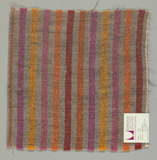Plain weave of variegated grey and orange, magenta, gold, pink, orange and red vertical stripes. The grey striped areas are comprised off-white warps while the wefts are comprised of white threads loosely twisted with black goat hair. The orange, magenta, gold, pink, orange and red stripes are made of heavier warp threads with a slight sheen.