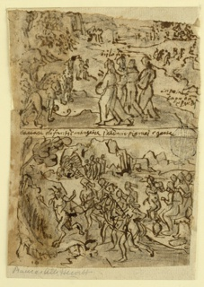 Vertical format. Verso: two scenes. Top: Apollonius Meeting the Animals and Natives of Ethiopia. Four figures face a group of wild animals. Inscription below. Bottom: Apollonius Quelling the Ghost of a Satyr in Ethiopia. Women chasing a satyr. Recto: Single figure of an ecclesiastic.