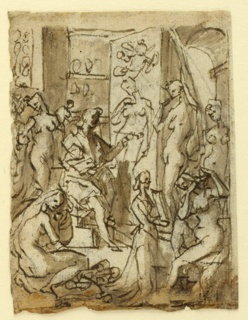 Vertical rectangle. Verso: Zeuxis is seated at left, facing right in profile. On his easel is a full-length figure of a nude woman which he paints with his left hand. His model stands at right. Other models are seated and standing about the room. One model combs her hair, a servant holding a mirror, right. Recto: Studies of four nude figures. Handwritten notations.