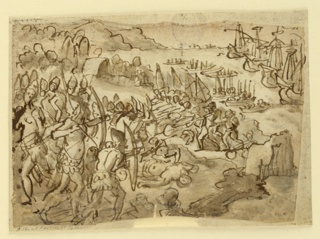 Horizontal rectangle. The Indians are in the left foreground and center shooting their bows. The battle fire of the Europeans with guns is in the right center. A bay with landing boats and five big ships is in the right and central back.