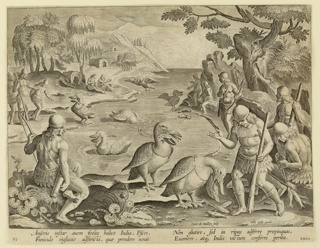 "Horizontal rectangle. An inlet, with men standing on shore on both sides, watching the pelicans gather fish in their pouches. Each bird bears a ring about its throat to prevent it from swallowing its catch. In the foreground, right, a pelican dislodges the fish before its master. Near left center: ""Ioan. Stradanus invent.""; near lower right: ""Carol de Mallery Sculp""; at lower right: ""Phls Galle excud."" Below: ""ANSERIS INSTAR AUEM FOELIX..."""