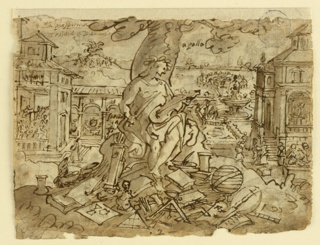 "Horizontal rectangle. Verso: Apollo seated under a tree with a violin. Around him are symbols of the Arts, below two buildings in theTuscan style, a formal garden and a fountain. Recto: Upper section: The hunters on horseback lasso a stag, related to ""Venationes"" 31. Lower section: Wolves attacking bulls. Foxes attack young calves, goats related to ""Venationes"" 48. Source: Welmoet van Kannerbok [sp?]"