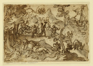 Horizontal rectangle. A man reclines on the ground, in foreground. In the middle distance a group of figures, some of them roasting food over an open fire. In the distance, right, a ship is harboured.
