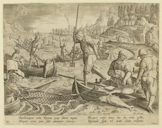 "Horizontal rectangle. Fishermen in open boats spread their net in the foreground, and spear the fish caught in it. Harbor with ships in the background at right. At left center: ""Ioan. Stradanus invent.""; right of center: ""Adrian. Collaert Sculp.""; lower right: ""Phls Galle excud."" Below: ""PARTHENO PAEAE URBIS THYMNUS."""
