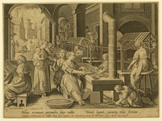 "Horizontal rectangle. View of women sorting and unwinding the cocoons and giving them the various stages of preparing the silk for weaving it, etc. Below the print caption in Latin: ""Hinc vermium permullà saepe millia. Simul legunt parant ez telas feminae."" ""Cognes ramassées et mises dans une espèce de chaudière avec le Dividoir pour lever les soyes."""