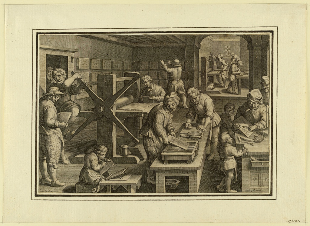 """Horizontal rectangle. A ship in which many engravers and apprentices are busy cutting, preparing and printing the plates and drying the prints. Bottom: """"Joan Stradanus invent."""" """"Phts. Galle excud."""""""