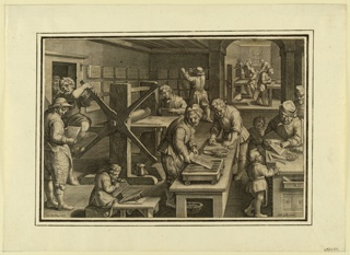 "Horizontal rectangle. A ship in which many engravers and apprentices are busy cutting, preparing and printing the plates and drying the prints. Bottom: ""Joan Stradanus invent."" ""Phts. Galle excud."""