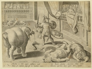 "Horizontal rectangle. Public combat between armeed warriors and an elephant. All of the warriors have fallen, except one, who faces the elephant, his sword upraised. A portion of the elephant's trunk has been severed. Spectators in enclosures, right and rear. Left to center, below: ""Ioan. Stradanus invent. / Carol de Mallery Sculp. / Phls Galle excud."" Below: ""ANNIBAL IN BELLO CAPTOS CONFLIGERE COGIT..."""