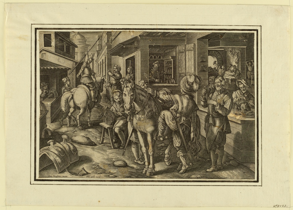 """Horizontal rectangle. Stirrups are forged, decorated, sold, and borne away from a busy shop on a narrow street. In the foreground, a man is about to mount his horses. Bottom left: """"Joan Stradanus invent."""" and """"Phls. Galle excud."""""""