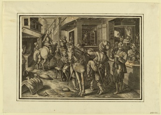 "Horizontal rectangle. Stirrups are forged, decorated, sold, and borne away from a busy shop on a narrow street. In the foreground, a man is about to mount his horses. Bottom left: ""Joan Stradanus invent."" and ""Phls. Galle excud."""