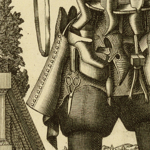 Figure of a man facing the view.  His costume is composed of the tools and products of his trade: shoes are worn on his hat, sleeves, and suspended from his waist.