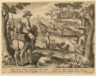 "Horizontal rectangle. Hunters using captive leopards to capture rabbits. Horseman, left, has leopard seated on box behind him, other hunters on horseback, in background, right. Near lower left: ""Ioan. Stradanus invent."" Near lower right, on a rock: ""Ioan. Collaert Sculp. / Phls. Galle excud."" Below: ""NON LEPORES CANIBUS..."""