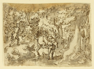 Horizontal rectangle. A forest scene with a stag standing in the center foreground, scratching his right ear. In the background left, a huntsman is preparing to shoot an arrow at the animal. Recto: Seven lines of inscription below sketch of hunstmen and stag.